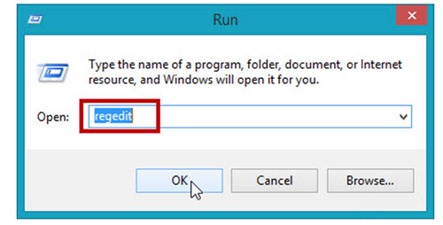 """Mở cửa sổ Run và nhập lệnh """"regedit"""""""