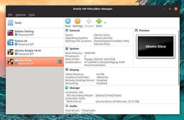 Giao diện sử dụng công cụ VirtualBox