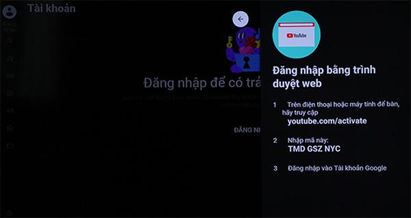 Hướng dẫn đăng nhập YouTube trên Smart Tivi (1)
