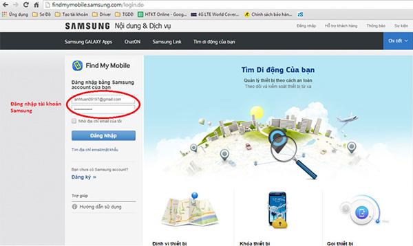 Đăng nhập dịch vụ bằng tài khoản Samsung đang sử dụng trên điện thoại