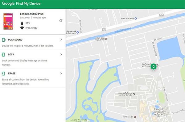 Truy cập trang web Google's Find My Device để tiến hành đặt lại điện thoại Android