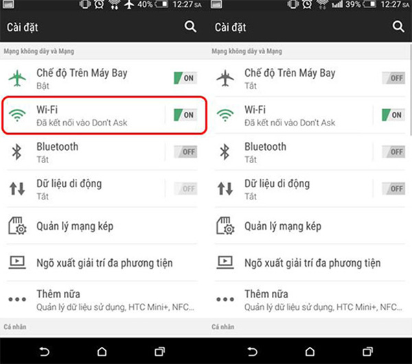 Kiểm tra tình trạng kết nối mạng wifi trên điện thoại Android