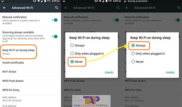 Chọn mục Always với chức năng Keep Wifi on during sleep