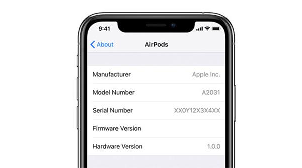 Xem Serial Airpods trong phần cài đặt trên iPhone kết nối