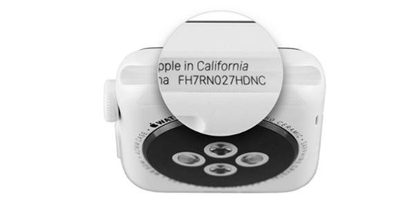 Kiểm tra số serial Apple Watch trên thân đồng hồ